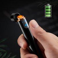 Serin USB Şarj Edilebilir Ark Elektrik Çakmak Silindirik Güç Ekran Dokunmatik Algılama Mini Taşınabilir Rüzgar Geçirmez Çakmak Sigara