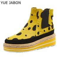 Botas yue jabon rojo amarillo tobillo mujer invierno al aire libre leopardo zapatos cálidos hembra 5,5 cm plataforma casual zapatos de mujer