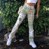 Kadın Kot Ekose Baskı Y2K Yama Semek Dikiş Kot Kadın Hip Hop Yüksekliği Bel Denim Gevşek Uzun Pantolon Moda Chic Streetwear