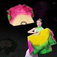 1 쌍 진짜 실크 밸리 댄스 팬 두 레이어 복합 색상 중국 민속 춤 팬 도매 수제 아트 숭배 1