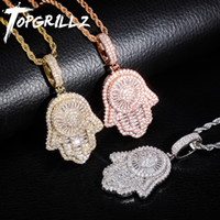 TOPGRILLZ New Hand Pendant Necklace With Tennis Chain Cuban ...