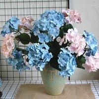 Flores decorativas grinaldas 7 cabeças grandes hydrangea buquê de seda artificial casamento flor arbusto decoração flores artificiales1