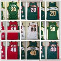 Retro genähter Basketballgary 20 Payton-Trikots Beste Qualität Grün Shaw 40 Kempe Kevin 35 Durant-Trikots Weiß Rot