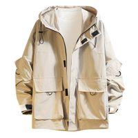 Moda masculina casual casaco com capuz no outono e inverno homens à prova d 'água do jaqueta à prova d'água grande tamanho 5xl w1227