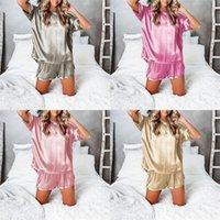 Sıcak İlkbahar Yaz Kadın Pijama Pijama Setleri Taklit Silik Lounge Uyku Tops Homewear Iki Parçalı Giyim Setleri T-shirt Şort Takım CZ20103