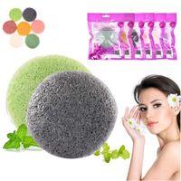 6 colori nell'emisfero naturale Konjac Sponge soffio cosmetico pulizia viso spugna lavaggio del viso Flutter trucco Tools