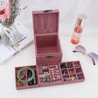 المحمولة الفانيلا المجوهرات مربع سعة كبيرة حلية مربع هدية عيد ميلاد مجوهرات مجموعة مجوهرات مربع تخزين حالة البحر الشحن EEB4382