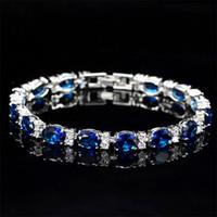 Victoria Joyería de lujo a estrenar 925 Sterling Silver Oval Cut Blue Sapphire CZ Diamond Ruby Popular Mujeres Boda Pulsera para Amante Regalo