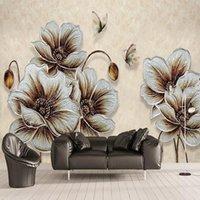 New Custom 3D Large Mural Wallpaper Three-dimensional golden corn poppy butterfly children's room TV Background living Bedroom