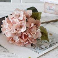 Dekorative Blumen Kränze 10pcs gefälschte europäische Single Sime Herbst Hortensie Simulation Hortensieas für Haushochzeit Showcase künstlich