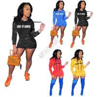 Lettres LABEL LUCKY Imprimer Robe femme Sweats à capuche capuche Pulls Robe Hivernales Trendy à manches longues Robes avec poches D102605 Total