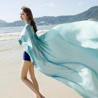 Bufandas Playa Shawal Silky Soft Satén Alta Calidad Seda Seda Estolas Sentirse Tulle Color Sólido