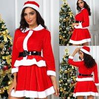 Miss Claus Falda Traje Rojo Damas Escenario Rendimiento Temas Partido Cosplay Santa Outfit Santa Sweetie Traje Falda Sombrero para Mujeres1