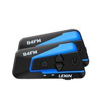 Lexin 4 façons Bluetooth Interphone de moto Bluetooth, casque de casque avec annulation de bruit FM Système de communication BT Moto sans fil B4FM1