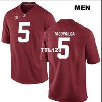 2019 새로운 남성 알라바마 진홍빛 조류 Tua Tagovailoa # 5 진짜 가득 차있는 자수 대학 유니폼 크기 S-4XL 또는 사용자 정의 모든 이름 또는 숫자 저지