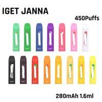Véritable appareil jetable Iget Janna 280MAH 1.6ml 450 Puffs Stick Stick Stick 16 Couleurs Option 100% originale Kit de vapeur d'origine