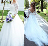 2020 New Modern Wedding Dresses Long Sleeve Sweetheart A-Line Illusion 3 4 Sleeves Tulle Open Back Bohemia Lace Applique Beach Bridal Gowns