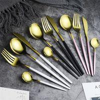 5 Renk Paslanmaz Çelik Ayna bulaşığı Altın Bıçak Meal Kaşık Çatal Çay Kaşık Çatal bıçak Basit Zarif Batı Yemeği Çatal