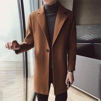 جديد الخريف الشتاء خندق الرجال الصوف القماش الرجال زر واحد معاطف الأزياء الذكور الصلبة الأعمال الرسمي طويل خندق سترة