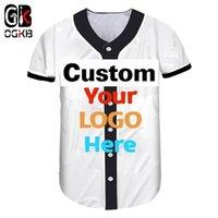 OGKB Seu próprio projeto Impresso 3D Custom DIY botão camisetas Verão V Neck Camisas de beisebol de manga curta para as mulheres Cardigan Roupas Y200824