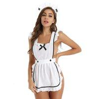 Kadın Seksi İç Hizmetçi üniform 4adet Seti Erotik Temptation Gece Sevimli Elbise Cosplay Kostüm Egzotik Setleri Önlük Babydoll Kıyafetler