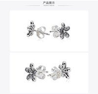 Authentic 925 Silver White Heart Stud Earrings for Pandora CZ CD Diamond Wedding 18K Gold Earring with Original box Set