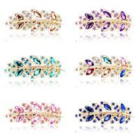 Strass Spring Spring Clips Feuille Crystal Crystal Coiffine Femmes Lady Fashion Barrettes Accessoires Bijoux Fête Cadeaux Coloré 3 52YY N2