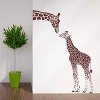Жираф и детские жираф на стену наклейка дома декор гостиной искусство искусства настенные татуировки виниловые съемные наклейки животных тема для животных Обои LA979 201201