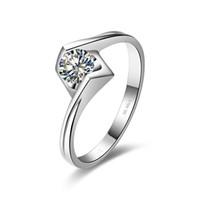 0.6CT Winkel Kuss Solitaire Verlobungsring für Frauen 925 Silber NSCD Simulated Diamond Ring Freies Verschiffen aus den USA
