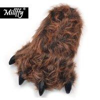 Millffy مضحك النعال أشيب الدب محشوة الحيوان مخلب مخلب النعال الصغار زي الأحذية Y201026
