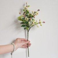 الزهور الزهور أكاليل الزيتون فرع فرع الاصطناعي حزب الديكور المنزل الصغيرة وهمية زهرة الملحقات النباتية 1