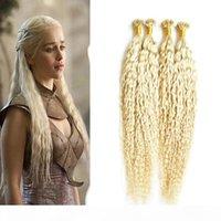 200g Remy Человеческие волосы для волос няня u Расширение волос вьющиеся предварительно связанные волосы на кератиновых капсулах блондинки 1 г