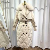 Fitaylor inverno grande peles artificiais longas jaqueta 90% branco pato para baixo parka mulheres mornas neve dupla sash laço up down casaco y201001