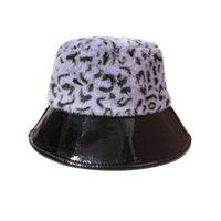 Faux Kürk Kış Kova Şapka Kadınlar Için Yapay Kürk Sıcak Balıkçılık Kap Patchwork PU Brim Açık Güneş Şapka Panama Bob Balıkçı Şapka Y0910