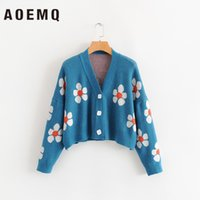 AOEMQ 여성은 여성 200928 탑 꽃 여성 스웨터 귀여운 밝은 녹색 기호 생명 빈티지 스웨터 봄 스웨터 인쇄 가디건