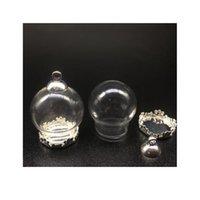 50 set 20 * 15mm Globes di vetro con metallo rame impostazione di base perline perline tappo set flaconcini pendenti wishing vetro bottiglia di vetro monili SQCPKL
