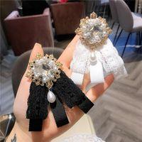 Pins, spille in pizzo di lusso ricamato perla arco grande spilla spilla in cristallo gemma di cristallo strass tessuto di seta abito da sposa perni coreani moda broche