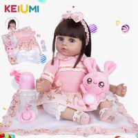 Keiumi Dropshipping Drops Bambole Reborn Girl 48 cm Panno corpo realistico Giocattoli carini Capelli lunghi Neonato Bambola Bebe per bambini Regalo di compleanno LJ201031