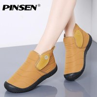 PINSEN 2020 Мода зимы женщин Boots Удобный водонепроницаемый теплый плюшевый голеностопного Snow Boots скольжения на Ladies Botas Mujer