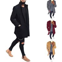 Los hombres de la chaqueta de otoño invierno de lana capa de los hombres de moda medio-largo gira el collar abajo Abrigo Escudo color sólido Slim Fit masculino Trench