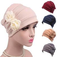 chapeau féminin Double Fleurs Cancer Chemo Hat Bonnet écharpe Turban Head Wrap Cap chapeaux d'hiver pour les femmes bonnet femme