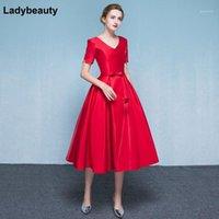 Robe de fête LadyBeauty Arrivée 2021 Élégante Robe de soirée Rouge Robe V-Col V-Colfort PLAN TAILLE Robes à manches courtes1