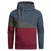 Hoodies Mens Splicing Colors Hoodies Fashion Trend Outdoor L...