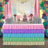 Gonna da tavolo in tulle di Natale Partito Tutu Gonne da tavola per baby shower Bomboniere Banchetto Decor di nozze Cuciture Cuciture Colore Tavolo Gonne 201120