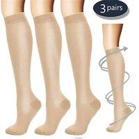 Palicy (3 çift) Sıkıştırma Diz Yüksek Çorap 20-30mm HG Mezun Mens Womens S M L XL Ayak Bacak Desteği Stocking Spor Çorap LJ201224