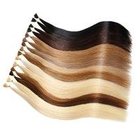 Оптовая Pre-скрепленные выдвижения волос Nano Ring I Tipped Наращивание волос 50strands / серия Черный Темно-коричневый Светлый цвет Бесплатная доставка Дешевые