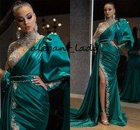 EightAle Arapça Abiye 2020 Yüksek Boyun Boncuklu Rhinestones Yan Bölünmüş Yeşil Seksi Avcı Yeşil Balo Gown Uzun Kollu