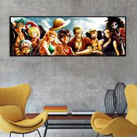 One Piece Lienzo Pintura Anime Wall Poster Decoración del Hogar Pintura Sala de estar Dormitorio Arte de dibujos animados Pintura sin marco LJ201128