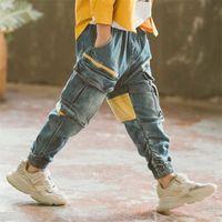 Junge Mode Patchwork Fracht Hosen Kinder Frühling Herbst Casual Kinder Jeans Für Jungen 6 8 10 12 14 Jahr Y200409