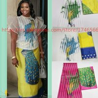 Gorąca Sprzedaż Styl Styl Satin Jedwabna tkanina z Organza African Wax Design! J61785 T200817.